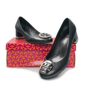 Leather Tory Burch Rounded Toe Heels in Black
